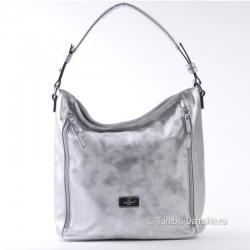 Srebrna torebka na ramię lub do ręki - modny worek