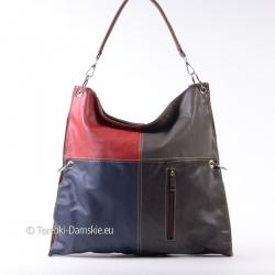 Czterokolorwa torebka - czerwono granatowo brązowo szara