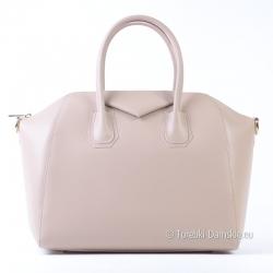 Kuferek ze skóry - modny odcień beżowego - włoska torebka damska