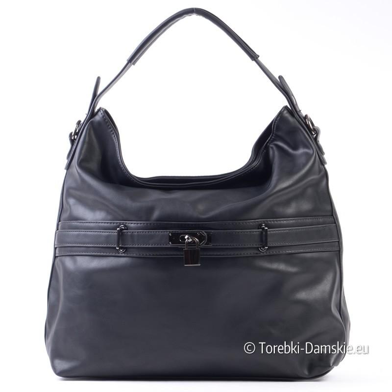 Czarna torebka z ozodbną kłódeczką