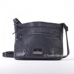Mała czarna torebka na ramię z dwoma kieszonkami zamykanymi