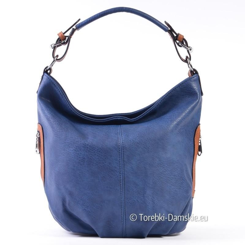 Niebiesko - brązowa torebka damska - odcień jeans