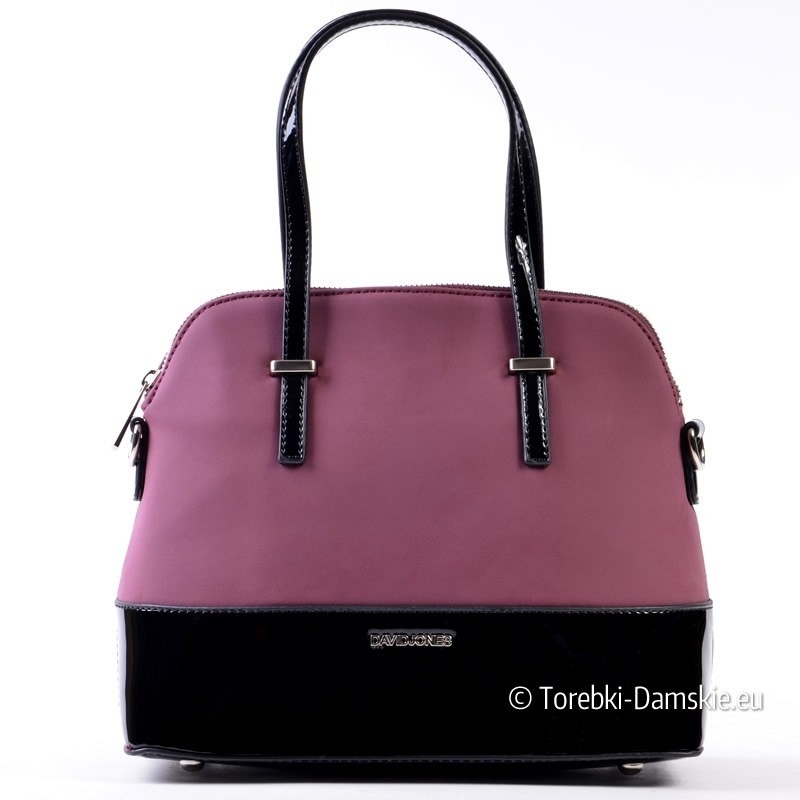 Fioletowa torebka z czarnymi elementami lakierowanymi