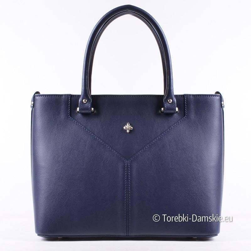 Granatowa włoska torebka - prostokątny kuferek - nowy model