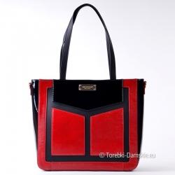 Czarna torebka z czerwonymi...