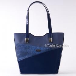 Shopper w kolorze granatowym - polska torebka damska
