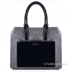 Szaro - czarna torba - lakierowana kieszeń z przodu, mieści A4