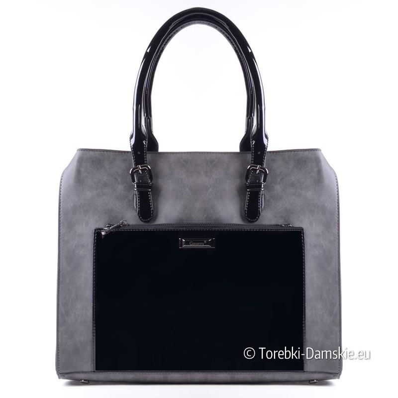 Szaro - czarna pojemna torebka z lakierowanymi elementami
