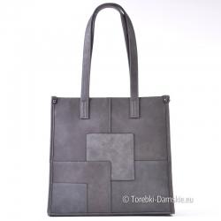 Popielata torba shopper A4 - ozdobne kwadraty