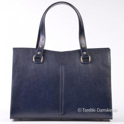 Granatowy kuferek ze skóry - elegancka włoska torebka damska