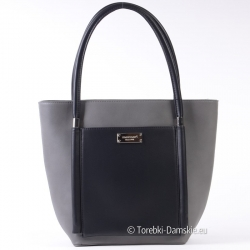 Szara oryginalna pojemna torba Monnari z czarnymi elementami