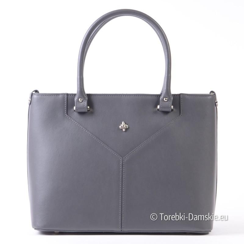 Skórzana szara torebka średniej wielkości kuferek włoski