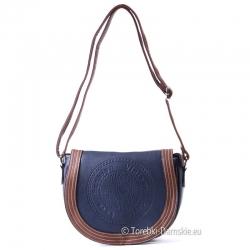 Granatowo - brązowa średniej wielkości torebka z klapą