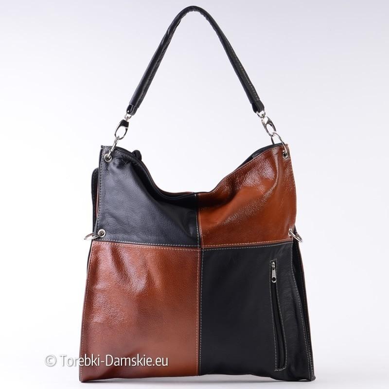Czarno - brązowa skórzana polska pojemna torba damska