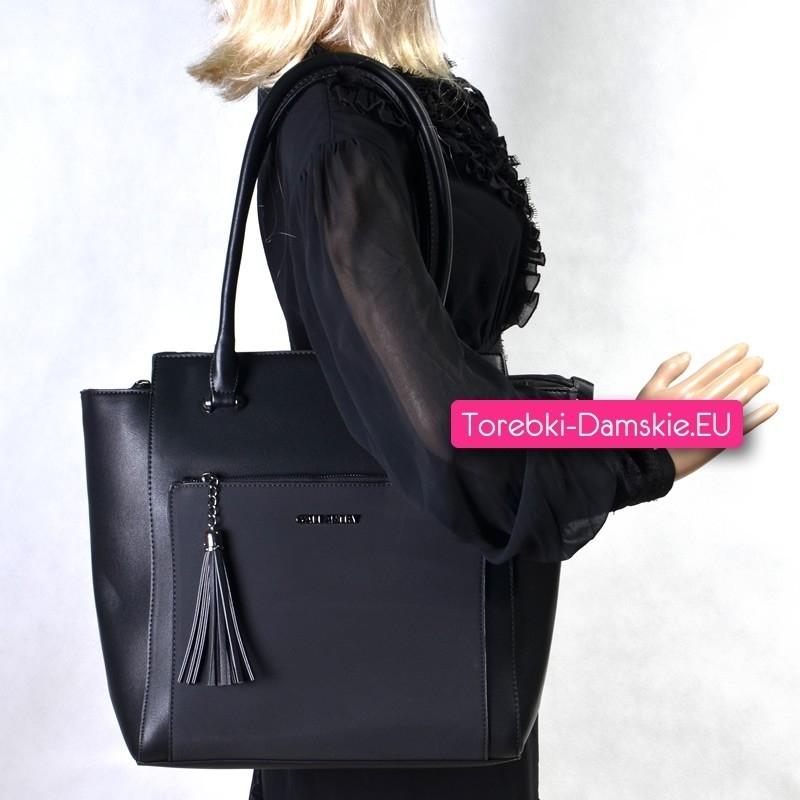 Duża torba czarna na ramię z kieszenią z przodu