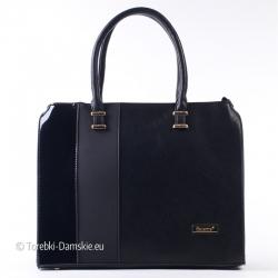Czarna damska teczka - duży kuferek A4