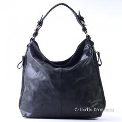 Duża torba czarny worek na ramię i do przewieszenia, na bokach kieszenie z suwakami