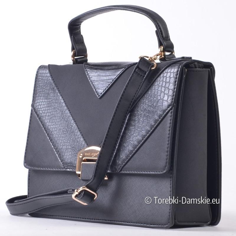 Elegancki czarny kuferek średniej wielkości David Jones