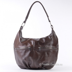 Skórzany brązowy worek - torebka w ciemnym odcieniu coffee