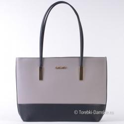 Dwukolorowa, szaro - czarna stylowa duża torba damska