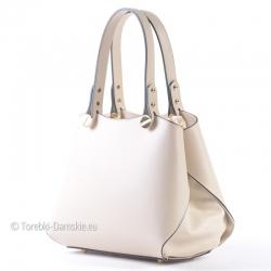 Kuferek w kolorze ecru - jasnobeżowym - włoska torebka ze skóry naturalnej