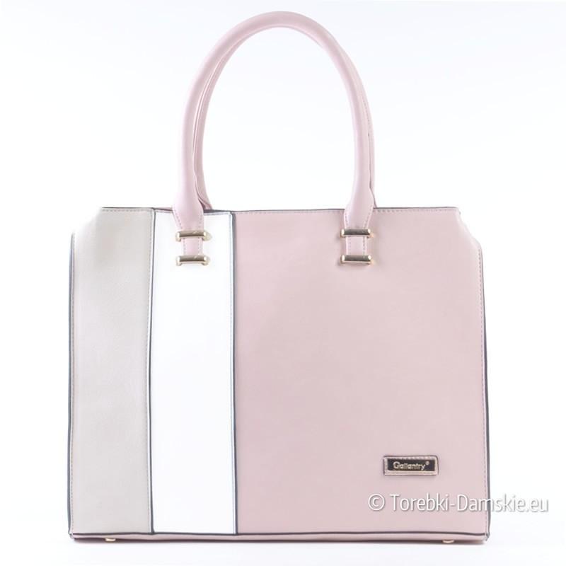 Różowo - beżowo - biała pojemna torba A4 - kuferek