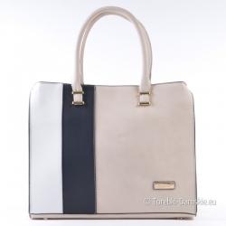 Beżowo - biało - czarna pojemna torba A4