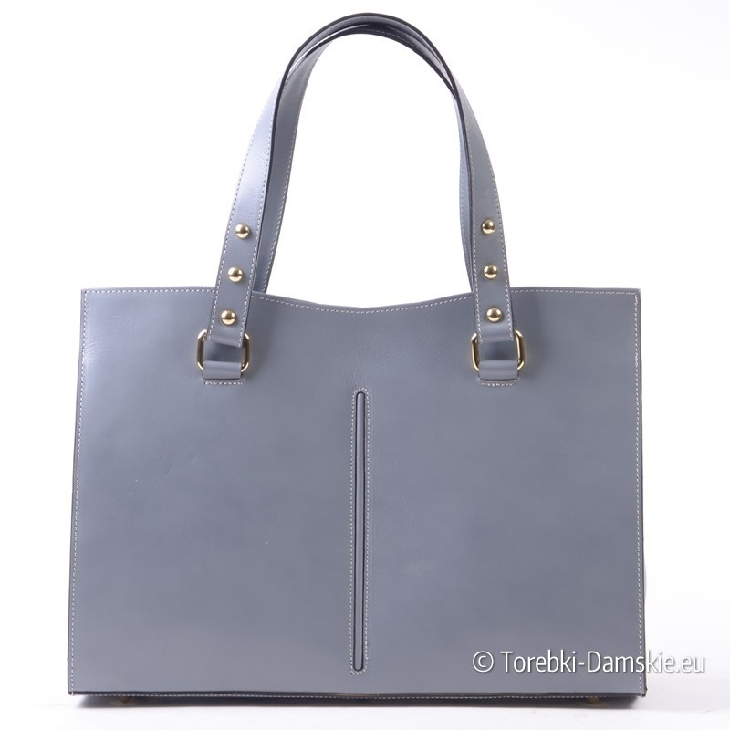 Włoska popielata skórzana torba damska A4 - stylowy kuferek