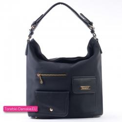 Czarna markowa torba z trzema kieszonkami z przodu