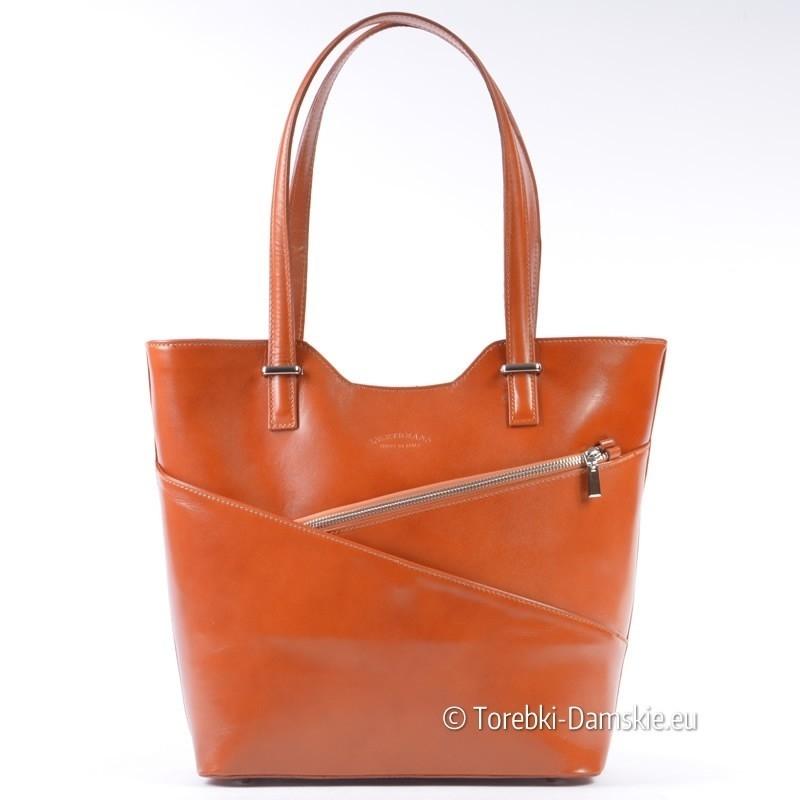 Jasnobrązowa damska skórzana włoska torebka