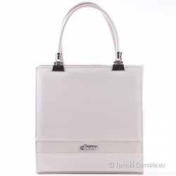 Wytworna beżowa torebka w odcieniu ecru - prostokątny kuferek