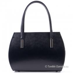 Elegancki czarny mały kuferek - ekskluzywna włoska torebka