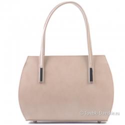 Mały kuferek z beżowej skóry - włoska torebka damska