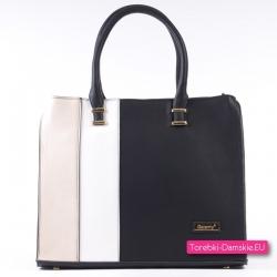 Damska torba A4 czarno - beżowo - biały stylowy kuferek