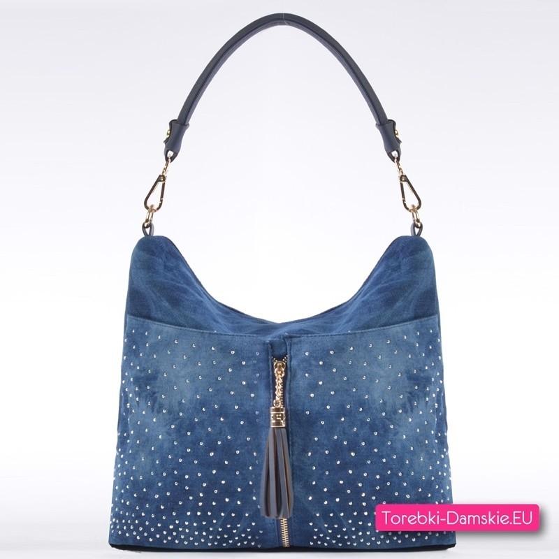 Niebieska jeansowa torebka damska z dżetami i złotym ozdobnym suwakiem