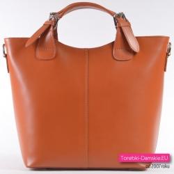 Brązowa, duża skórzana torba (odcień Camel) - Zarka