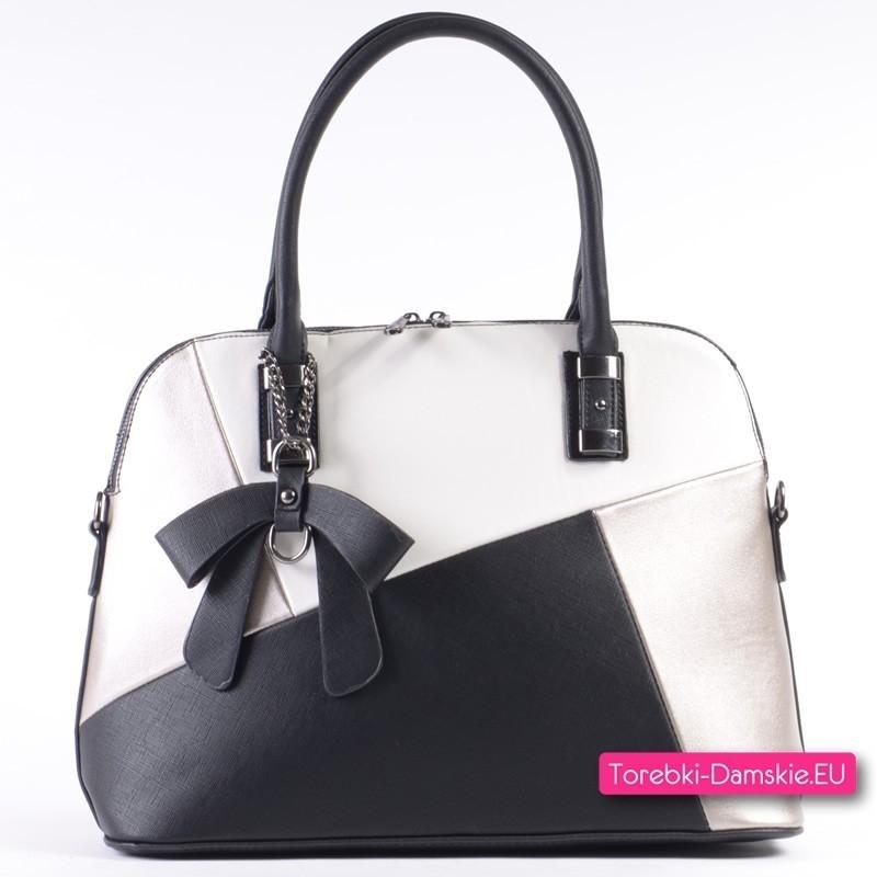 Czarno - biało - srebrna torebka - kuferek A4