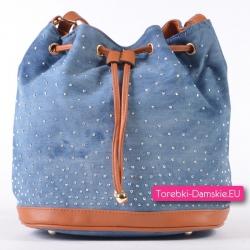 Jeansowa jasnoniebieska torebka z elementami jasnobrązowymi