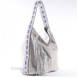 Szary elegancki worek - pojemna torba damska na ramię