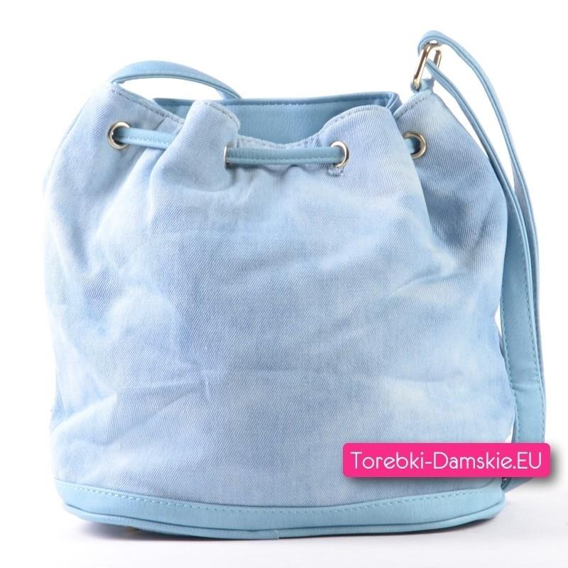 158f1178ef29f Błękitna jeansowa torebka z ozdobnymi dżetami ćwiekami