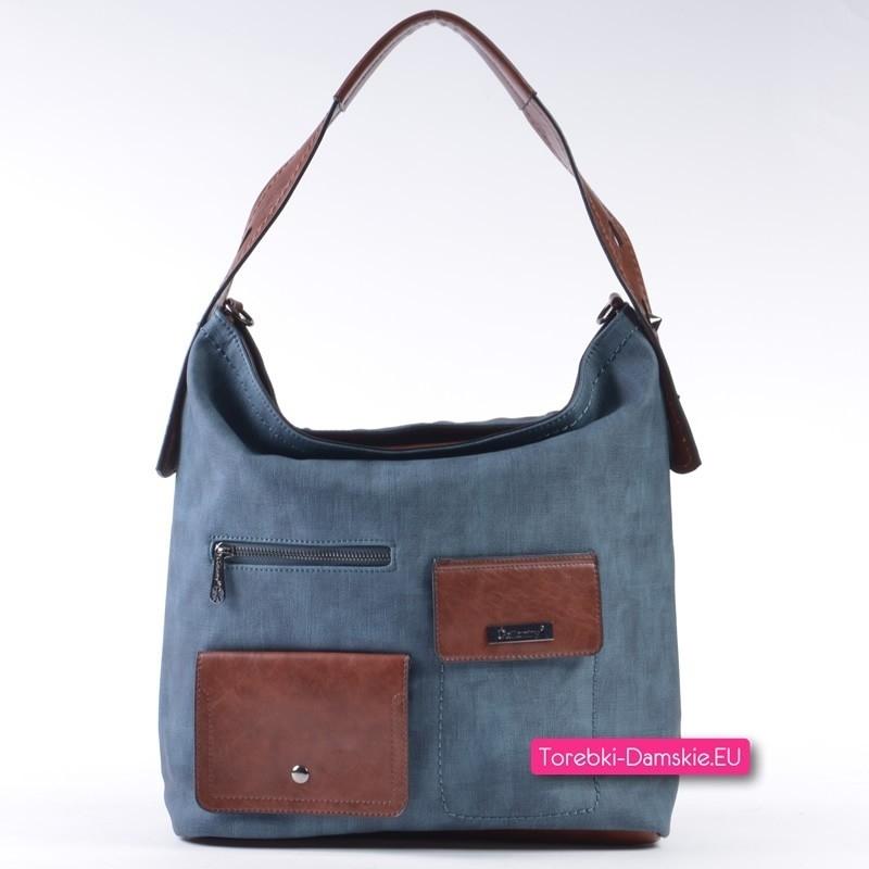 075a41707aa1d Niebieska torba z brązowymi elementami - pojemna i efektowna