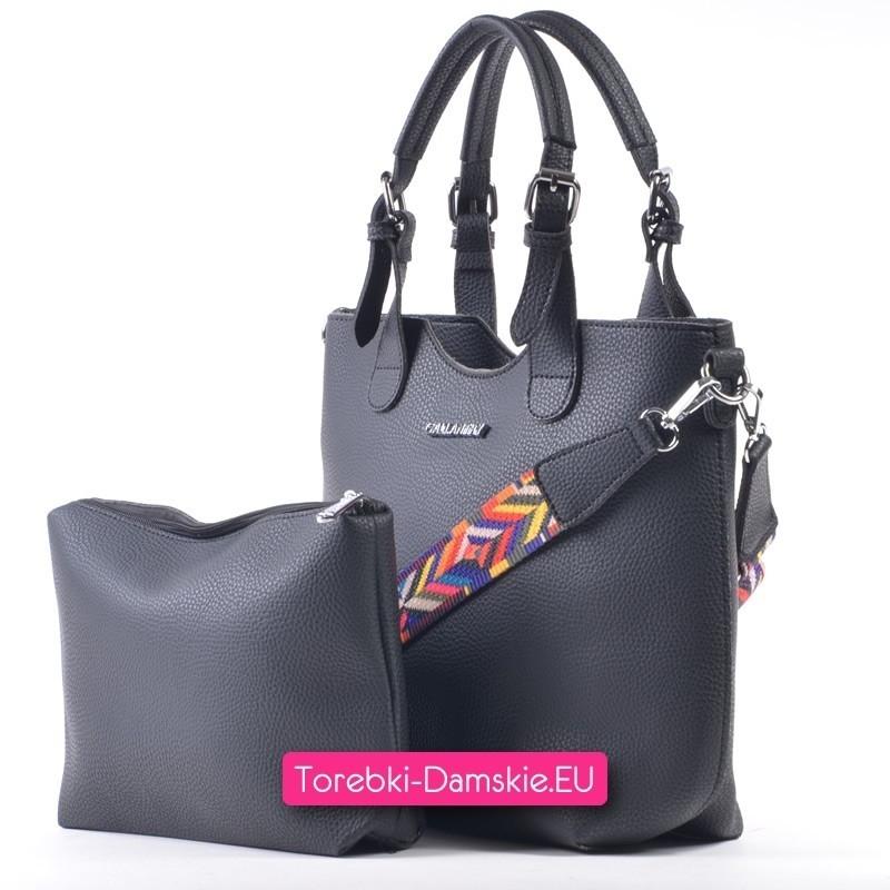 02f811a19d2d7 ... Czarny shopper z azteckim paskiem i listonoszką w komplecie - pojemna  torba miejska ...