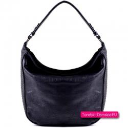 Ładnie układająca się czarna torebka - elegancki worek