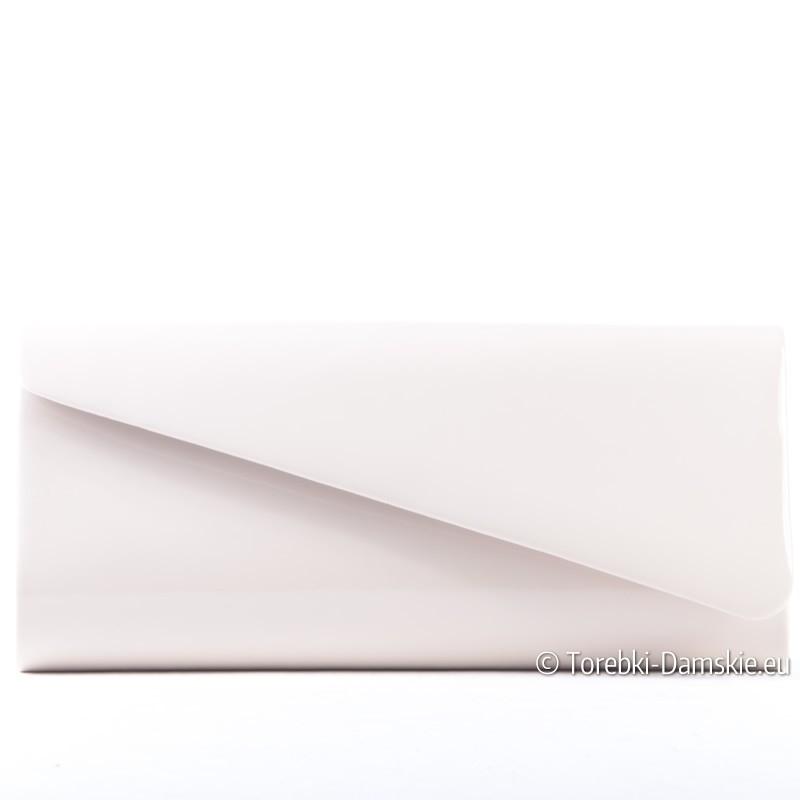 Kopertówka w kolorze ecru - lakierowana wizytowa torebka damska