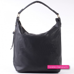 Duża czarna torba damska A4 - worek na ramię