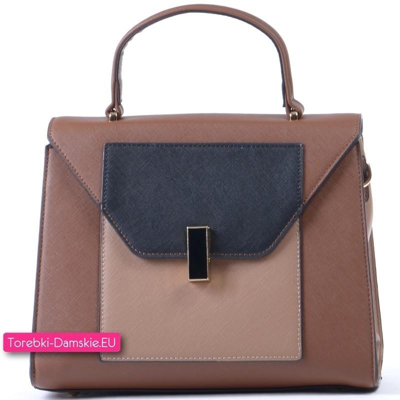 Brązowo - beżowo - czarna torebka - stylowy kuferek