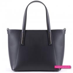 Czarna damska torba z licowanej naturalnej skóry