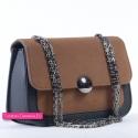 Czarno - brązowa torebka na łańcuszku