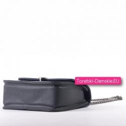 Stylowa elegancka czarna torebka z granatowymi elementami