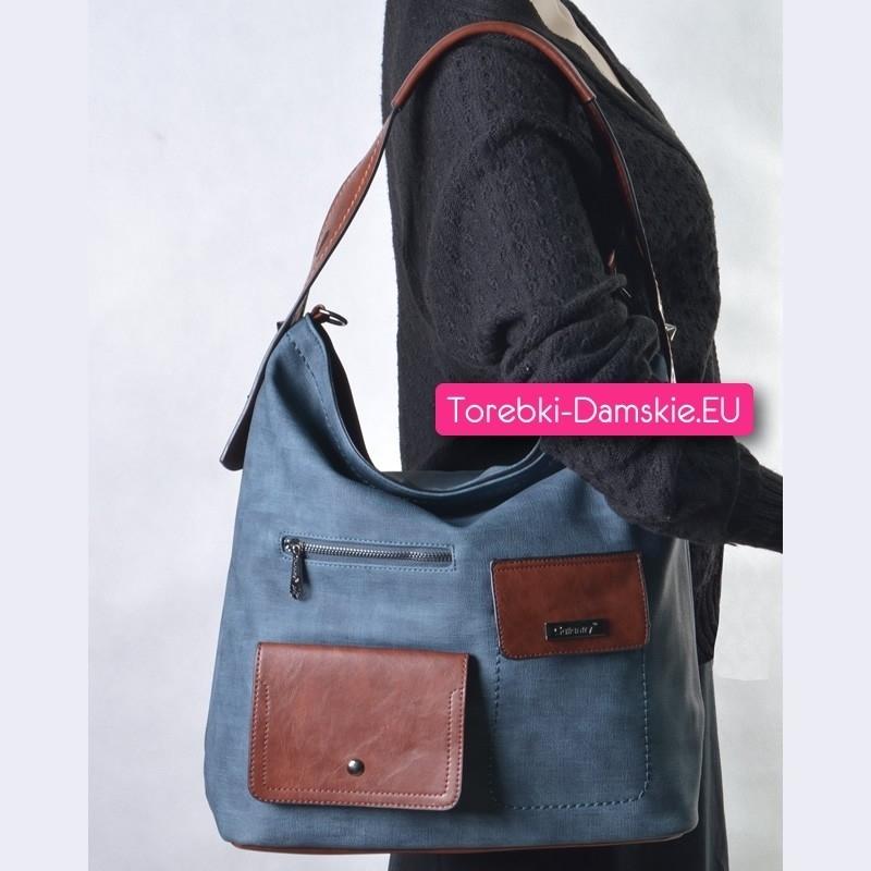 fa1863ffc9a44 ... Niebieska torba z brązowymi elementami - pojemna i efektowna ...